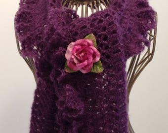 Blueberry mohair/silk yarn scarf