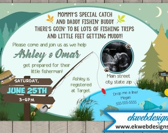 Custom Fishing Camping Baby Shower Invitation - Printable file - It's a Boy Baby Shower Invite with Sonogram
