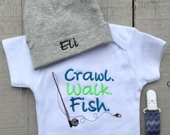 Fishing Baby Clothes, Baby Boy Clothes , Crawl. Walk. Fish., Fishing Onesie, Embroidered onesie, Bodysuit, Baby Shower Gift
