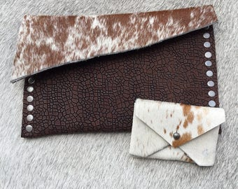 handmade leather clutch with hair on hide, gifts for her, gift, handbags