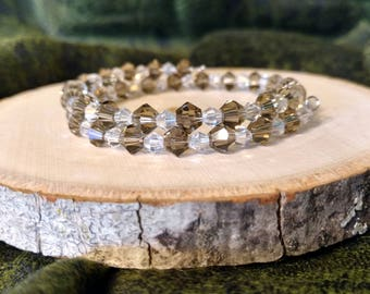 Smokey Gray and Clear Crystal Bracelet