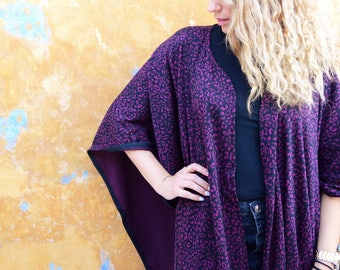 The Perfect Animal Print Ethnic Cotton Cape, Super Chic Kimono style – Mini Length – One size