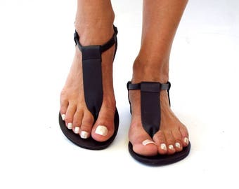 "Black Leather sandals, ""zina""  Greek sandals,  leather sandals,  handmade sandals, express shipping 1-4 days worldwide"