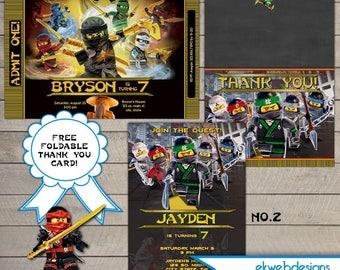 Lego Ninjago Birthday Invitation - Ninjago Movie Birthday Party Invitation -Lego Ninjago Printable Digital File- Free Thank you Card