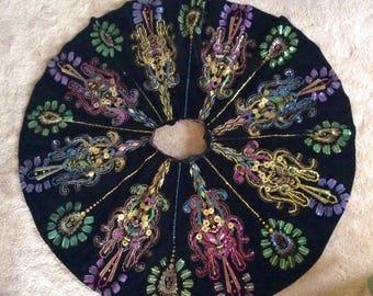 Black velvet vintage Mexican circle skirt