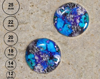 2 cabochons 20 mm paint effect, flowered headband is available in 25, 22, 18,14, 12 mm