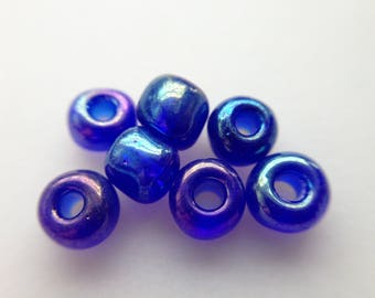 12.3 / beads blue glass beads iridescent clear 4mm 40gr