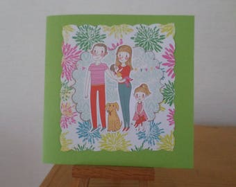 card with family and his dog