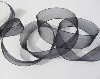 1 meter of 25 mm black organza Ribbon