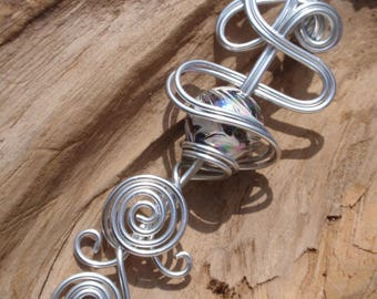 The stunning Choker necklace, Silver Aluminum pendant and marbled bead