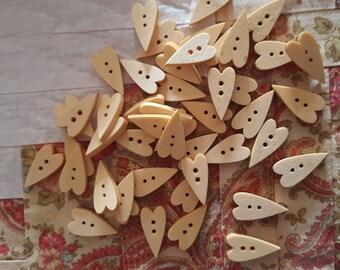 Set of 5 wooden heart shape buttons