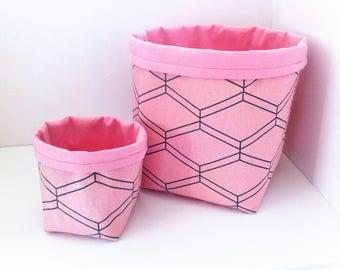 Set of 2 baskets of arrangement reversible fabrics ethnic pink tender/grey and pink