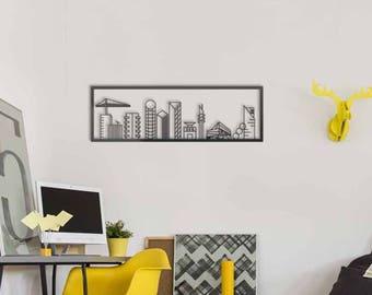 TLV wall art, tel aviv skyline, israel wall decor, living room metal wall art, city skyline, line art decor, modern wall decor