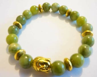 Tibetan bracelet, Jade and gold