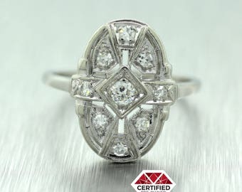 1920s Antique Art Deco Solid Platinum/Iridium 0.26ctw Diamond Ring 4.0g