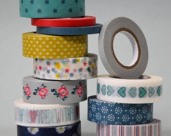 Washi Paper - Masking Tape set of 12 x 12 m - patterns matching