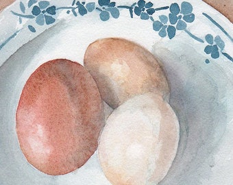 Eggs may 2017 - 12x17cm - watercolor black casserole and few