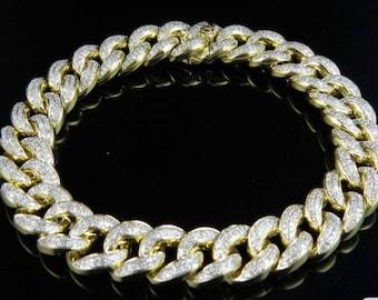 Micro Pave New Rennasaince Lab Diamond 3d Bracelet Rap Jewelry