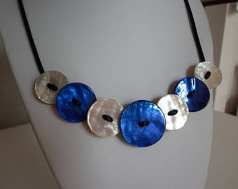 Blue and natural shell on black cord necklace buttons