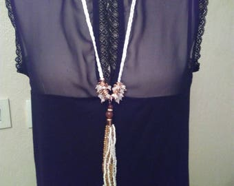Fishing wire and glass beads necklace