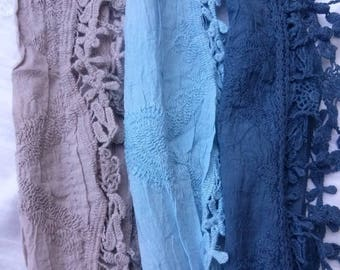 Different colors embroidered cotton scarf