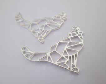 2 breloque origami loup en métal argenté 34 x 29 mm