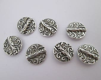 7 perles palet baroque 13 mm trou 2 mm en métal argenté