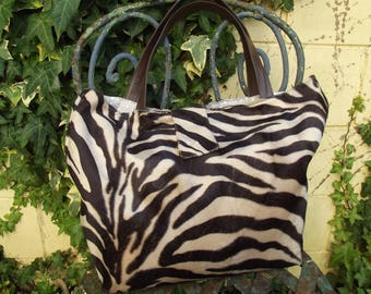 faux fur Zebra print tote bag