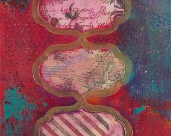 """Fine art print, 'Realms' 12x18"""" (A3 size) Red gold abstract art, Moroccan pattern art, wall art, pop art, modern art, fun abstract art print"""
