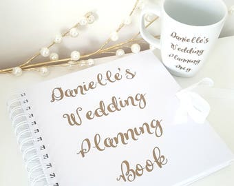 Personalised Wedding Planning Book and Mug White with Gold Writing