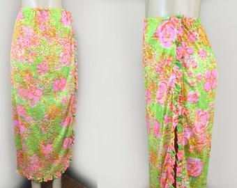 Bombshell Swim Skirt  | Vintage 1950s Perfection Fit by Roxanne Nylon Sarong Wrap Beach Pool Skirt | Size S | Pink Green Orange