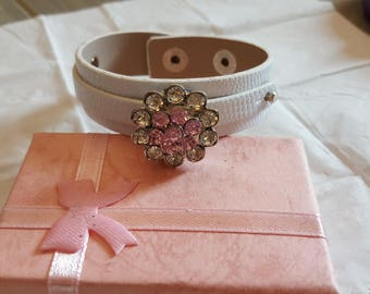 Cuff Bracelet NOOSA VIXEN/silver/white/leather/crystal/glass/pink/cabochon/button/jewelry/gift/girl/woman/Cuff/Bracelet/gift