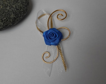 Boutonniere, brooch for wedding - Royal Blue and gold