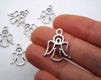 3x Outline Angel Charm double sided 16 x 20mm, Silver Coloured Charm