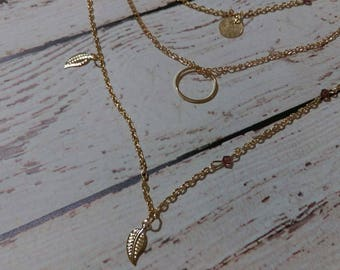 Layered Leaf Gold Necklace Handmade