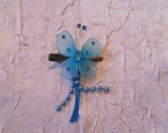 Blue rhinestone Butterfly hair clip
