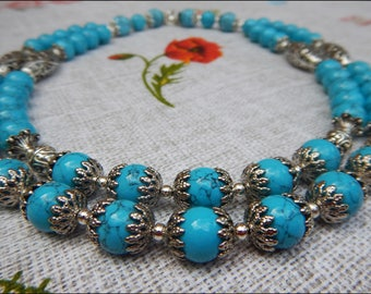 Blue handmade turquoise  necklace