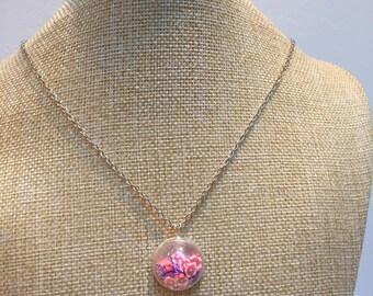 Glass fimo flowers Locket necklace jewelry