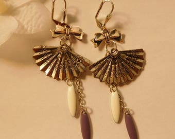 Oval sequin fan earrings