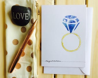 Engagement keepsake, proposal card, diamond ring card original acrylic hand painted greeting card that can be personalised