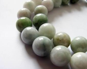 2 round beads 10mm Burma Jadeite jade