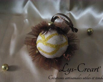 Ball 7cm for Christmas tree, chocolate and gold tones