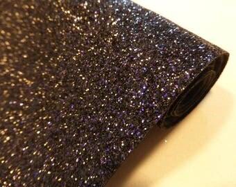 Tissu micro paillettes,  glitter coloris noir-violet 30/25cm, à coudre pour customisation, couture et DIY , lavable