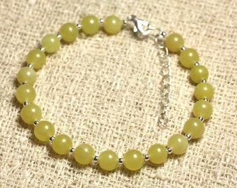 Bracelet 925 sterling silver and stone - 6mm lemon Jade