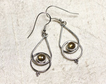 BO205 - earrings 925 sterling silver and gemstone Citrine drops 36mm