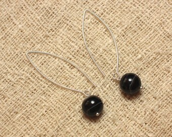 Stone - 10mm black Agate and 925 Sterling Silver earrings