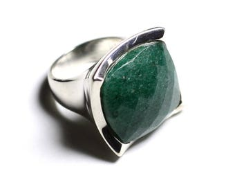 N222 - green Aventurine faceted 925 sterling silver ring square 20mm
