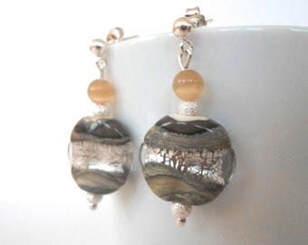 Earth and earrings silver lampwork beads and sterling silver