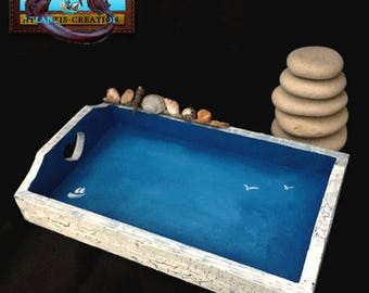 Top tray Brittany wood Crackle effect and decor made with Driftwood