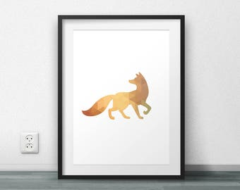 Golden Fox, Fox print, Minimal Poster, Scandinavian Art, Triangle Pattern, Home Decor, Printable Poster, Digital Art, Large Size, Resizable
